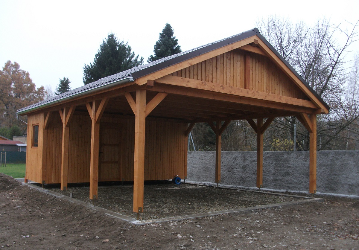 Dwuspadowe holz carport doppelcarport und berdachung for Car port pl
