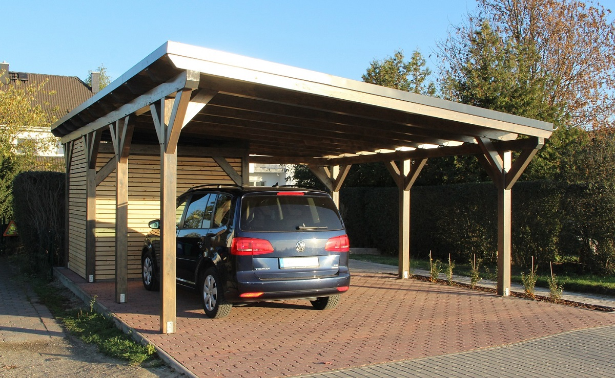 Wiata gara owa jednospadowa z p askim dachem holz carport for Car port pl